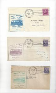 US Highway Post Office Covers (3) 1940's