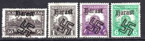 HUNGARY WW2 HARAST OVERPRINTS CDS F/VF TO VF SOUND x4 DIFFERENT $$$$$$$