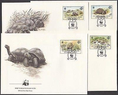 Seychelles-Zil Elwannyen Sesel stamp WWF Turtles set 4 FDC Cover 1987 WS162144