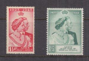 ADEN, QU'AITI STATE, 1949 Silver Wedding pair, mnh.