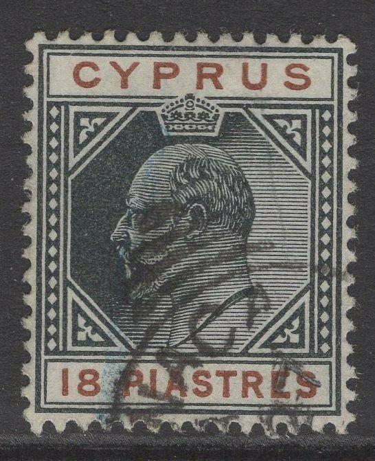 CYPRUS SG58 1904 18pi BLACK & BROWN FINE USED