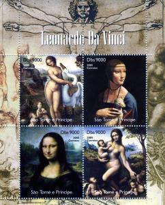 Sao Tome & Principe 2005 Leonardo Da Vinci Mona Lisa Sheet Perforated mnh.vf