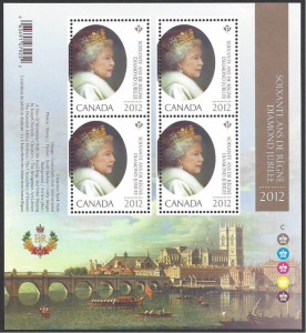 Canada #2518i MNH ss, Queen Elizabeth II diamond jubilee, issued 2012