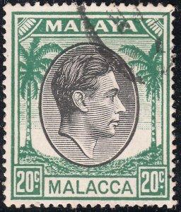Malacca 1949 KGVI 20c Black & Green VFU
