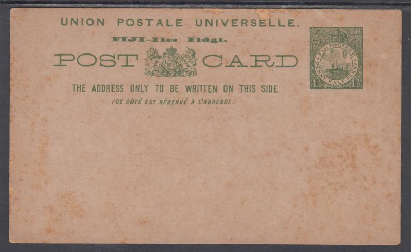Fiji H&G 2 mint 1895 1½p green Postal Card, scarce