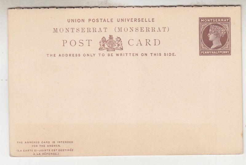 MONTSERRAT, Postal Card with reply attached, QV 1894 1 1/2d. Brown, unused.