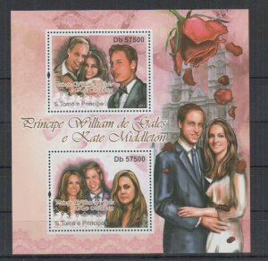 St. Thomas & Prince Island MNH S.S William & Kate 2011