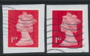 GB - 1st Red & 1st Deep Red  Security Machin Used  - Source / Date 16 T  see ...