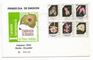 ECUADOR 1994 ORCHIDS FIRST INTERNATIONAL CONVENTION 6 VALUES FIRST DAY COVER FDC