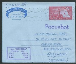 GB SWEDEN 1965 6d air letter Stockholm Paquebot MS Devonia ship cachet.....39933