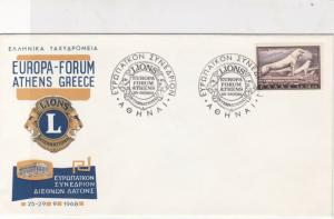 Greece 1968 Celeb.Lions International Club Slogan Cancels Stamps Cover Ref 27446
