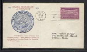 US #858-21b South Dakota Statehood Grandy cachet addressed