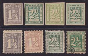 GERMANY HAMBURG 8 old forgeries of classic issues...........................4539