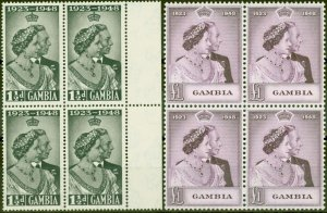 Gambia 1948 RSW set of 2 SG164-165 in V.F MNH Blocks of 4