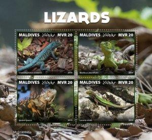 MALDIVES - 2019 - Lizards - Perf 4v Sheet - MNH