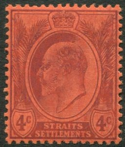 STRAITS SETTLEMENTS-1905 4c Purple/Red chalk-surfaced paper Sg 129a MM V50186