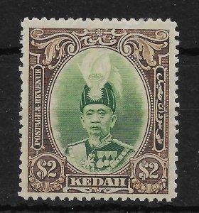 MALAYA KEDAH SG67 1937 $2 GREEN & BROWN MTD MINT