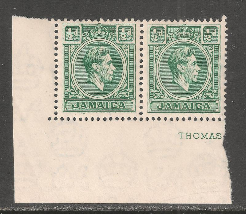Jamaica #116 (SG #121) VF MNH PAIR - 1938-51 1/2p King George VI