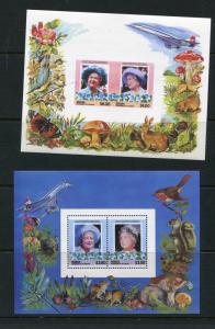 Bequia 2 Souvenir Sheets Perf+Imperf  MNH  Queen mother Royalty 5897