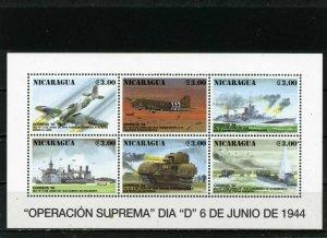 NICARAGUA 1994 MILITARY AVIATION & SHIPS SHEET OF 6 STAMPS MNH