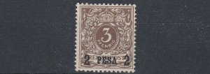 GERMAN EAST AFRICA  1893 S G 1  2P ON 3PF  GREY BROWN  MH