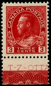 CANADA SG248, 3c Carmine MARGINAL with Lathwork type D, UNMOUNTED MINT.