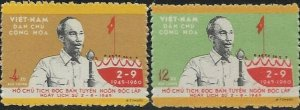 North Vietnam  1960 15TH National Day SC#  132-133  Mint