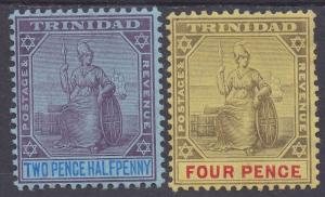 TRINIDAD 1904 BRITANNIA 21/2D AND 4D WMK MULTI CROWN CA