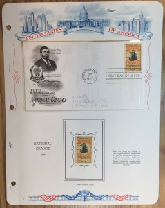 #1323 National Grange FDC and MNH Single in mount on souvenir page
