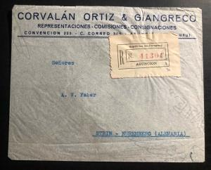 1938 Asuncion Paraguay commercial Registered Cover to Nurembeg Germany