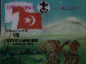 QIWAIN STAMP-1971 -13TH ANNIV: WORLD JAMBOREE-SCOUT AIRMAIL 3-D STAMP MNH #2