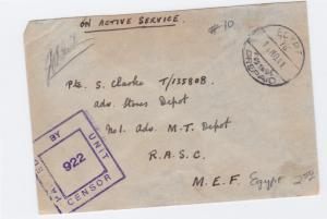 egypt 1940's on active service british field post censor cover  ref r15551