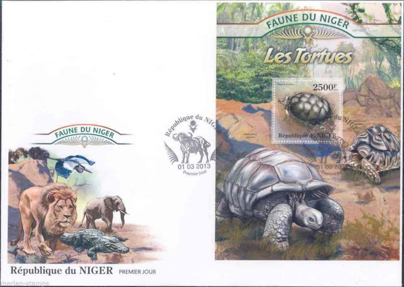 FAUNE OF NIGER 2013 TURTLES  SOUVENIR SHEET  FIRST DAY COVER