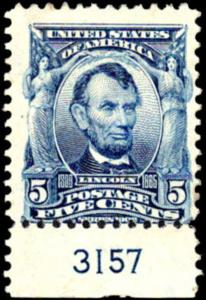 United States Scott #304 5c Lincoln Mint Lightly Hinged