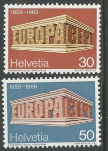 Switzerland # 500-501 Europa   1969    (2) Mint NH
