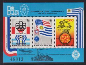 Uruguay Sc C418v MLH. 1975 UPU, Perf & Imperf S/S-s