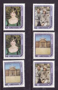 Grenada Grenadines-Sc#485-90-unused NH set-Princess Diana-1982-
