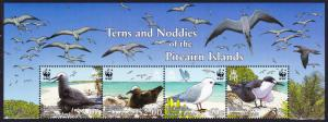 Pitcairn WWF Seabirds Wide Top Strip of 4v with names SG#724-727 MI#717-720