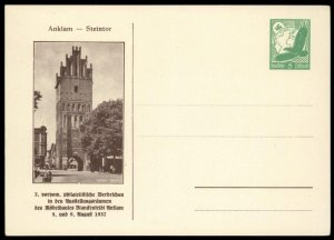 Germany 1937 ANKLAM Stamp Show Private Card Cover Advertising UNUSED G99331
