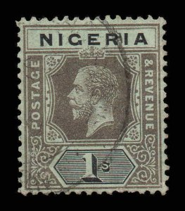 Nigeria 1914 KGV 1/- wmk MCCA yellow-green back SG 8b used CV £60