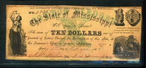 State of Mississippi 1862 $10 Note Nice COndition