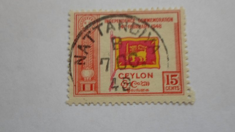 STAMP OF CEYLON USED HINGED SC # 302