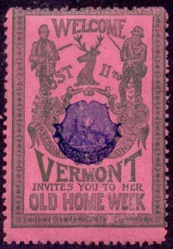 US 1901 Vermont Old Home Week Misregistered Poster Stamp (G-B-R)