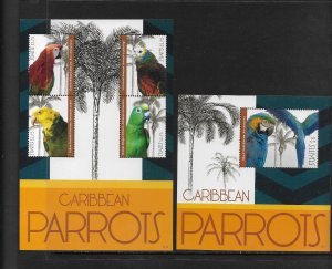 BIRDS - ST KITTS #837-8  PARROTS  MNH