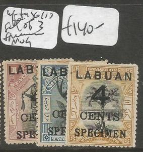 Labuan After SG 110 Set of 3 Specimen MOG (9clm)