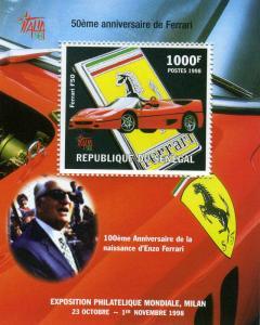 SENEGAL 1998 Ferrari Anniversary s/s Perforated Mint (NH)
