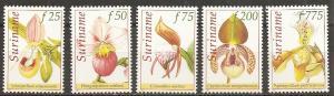 Surinam 1092-6 1997 Orchids set NH