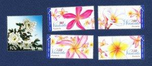VANUATU - Scott 971, 972-975 - FVF MNH - Flowers - 2009