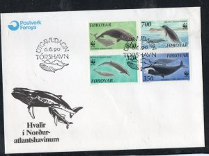 Faroe Islands Sc 208-11 1990 Whales WWF stamp set on FDC