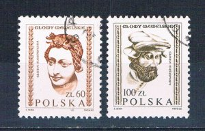 Poland 2536-37 Used set Carved heads 1982 (P0320)+